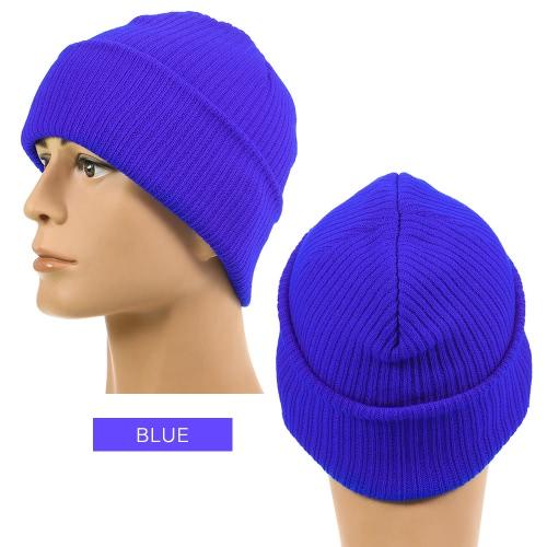 Чистый цвет полосатый теплый трикотаж шерстяной шапочка Открытый верхом унисекс трикотажные шляпы