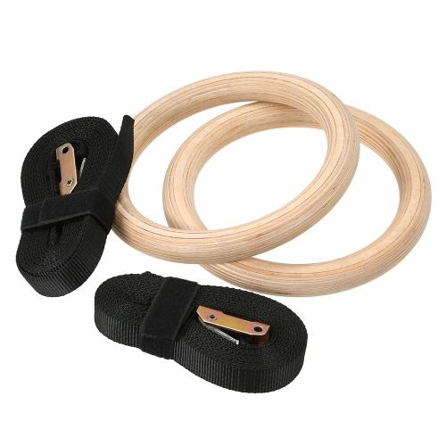 Anillos de gimnasia de ejercicios de gimnasio de madera de 32 mm Anillos Ejercicio de gimnasio levanta el músculo sube
