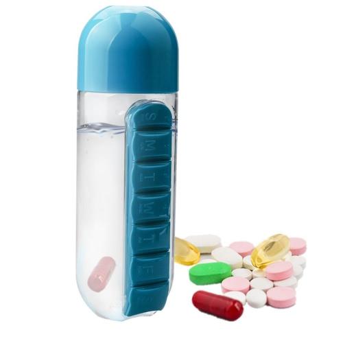 Tragbare 600ml Sport Plastik Kreative Wasser Flasche Kombinieren Tägliche Pille Boxen Organizer Trinkflaschen Leck-Proof Tumbler Cup Outdoor