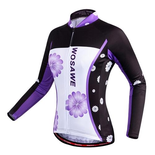Image of WOSAWE Frauen Breathable Langarm Radfahren Jersey Shirt MTB Fahrrad Radfahren Kleidung Bekleidung Sportbekleidung