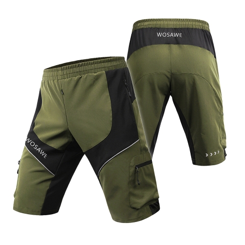 WOSAWE Hombres Repelente de Agua Baggy Ciclismo Shorts Breathable Loose Fit Deportes al aire libre MTB Bike Riding Running Shorts