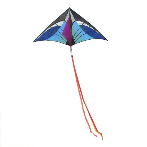 160 х 90 см / 63 х 35,5 дюймов Большой спортивный одиночный кайт с воздушным кайтом Delta Kite с хвостом для детей Взрослые