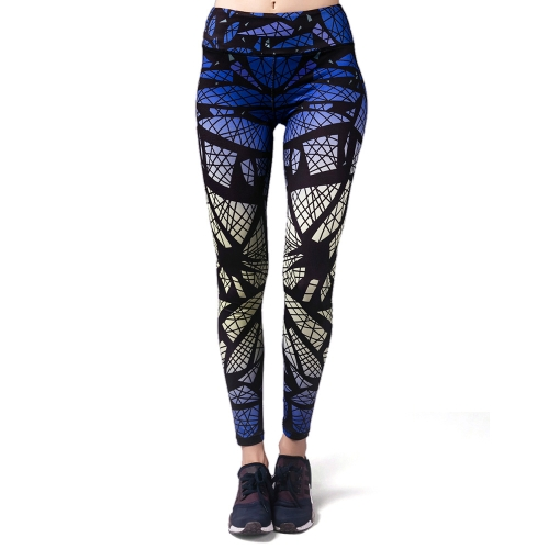 Women's Printed Compression Joga Pants Aktywne Legginsy Treningowe Stretch Rajstopy