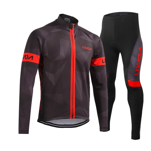 Lixada Men's Winter Thermal Fleece Cycling Clothing Set Long Sleeve Windproof Cycling Jersey Coat Jacket with 3D Padded Pants Trousers