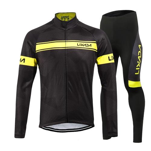 Giacca da ciclismo invernale con maniche lunghe in poliestere invernale Lixada Giacca da ciclismo Jersey Jersey con Pantaloni imbottiti in 3D