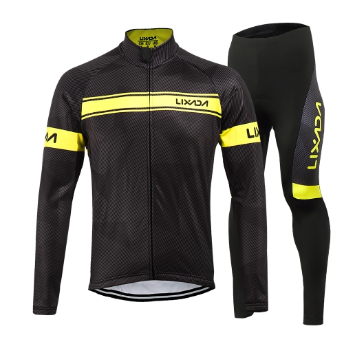 Lixada Men's Winter Thermal Fleece Cycling Clothing Set Long Sleeve Windproof Cycling Jersey Coat Jacket with 3D Padded Pants Trousers Image