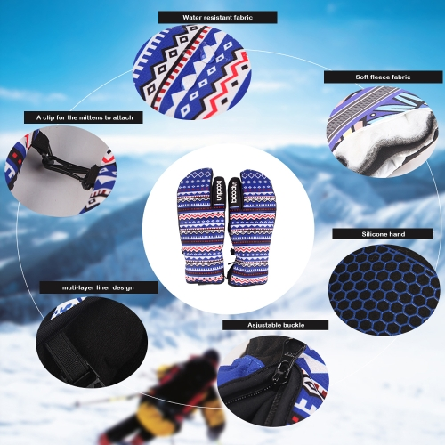 Three Fingers Cycling Gloves Windproof Winter Outdoor Thermal Sports Bike Riding Gloves Hand Warmers Skiing Mountaineering Motorcy