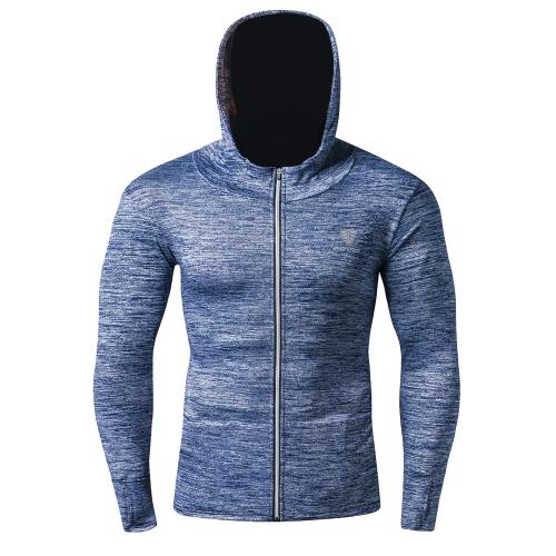 Autunno Inverno Maschile Fitness Coat manica lunga da uomo Asciugatura rapida Abbigliamento Sport all'aria aperta Basket Running Training Hoodie con cerniera