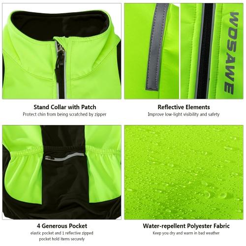 WOSAWE Men's Cycling Jacket Windproof Warm Fleece Winter MTB Bike Bicycle Riding Jersey Outdoor Sport Coat Image