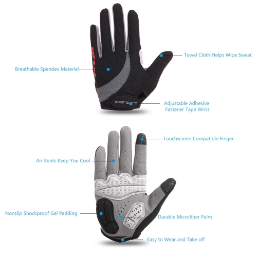 GUB Unisex Gel Padded Touch Screen Full Finger Cycling Gloves MTB Road Bike Bicycle Riding Outdoor Sport Gloves