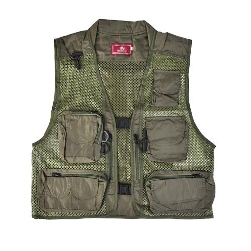 Летняя многофункциональная быстрая сушка Mesh Fishing Vest Jacket Multi-Pocket Outdoor Photography Angler Coat