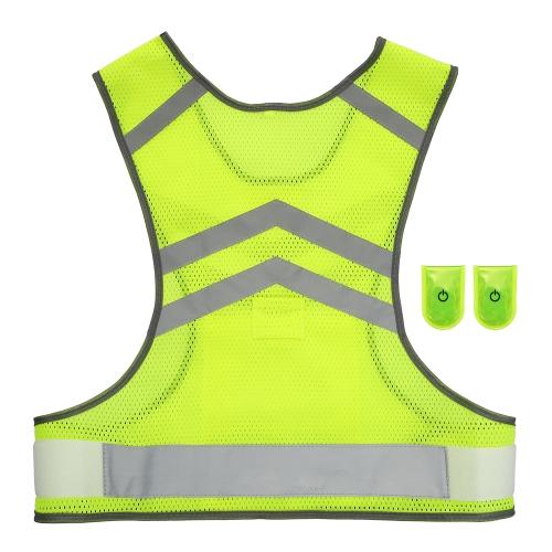 Sport all'aria aperta in esecuzione giubbotto riflettente regolabile leggero ingranaggio di sicurezza in maglia per le donne uomini jogging in bicicletta a piedi