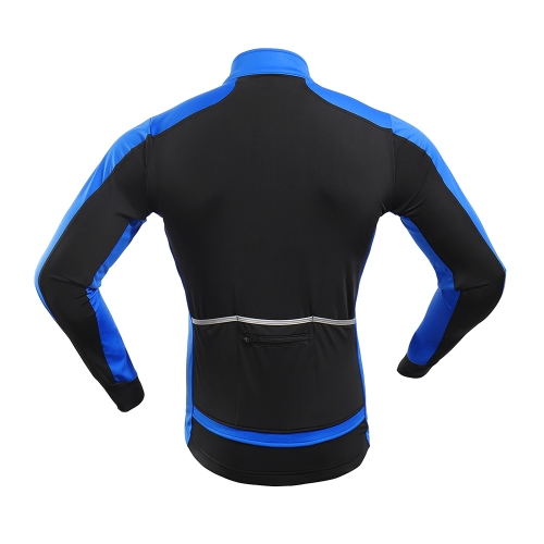 Arsuxeo Men's Windproof Thermal Fleece Lined Winter Cycling Jacket Outdoor Sport Coat Riding Long Sleeve Jersey Image