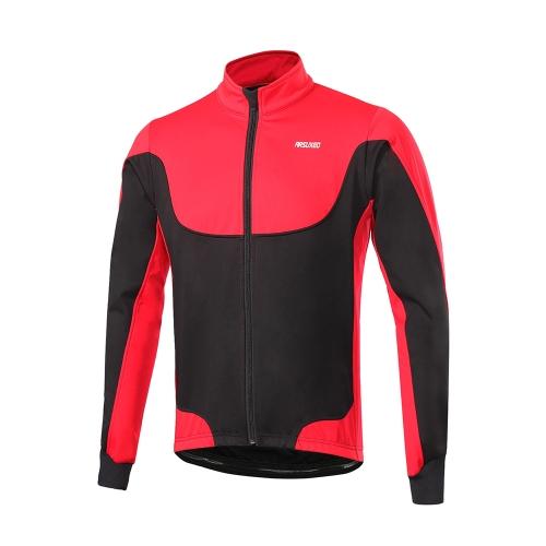Arsuxeo Men's Windproof Thermal Fleece Lined Winter Cycling Jacket Outdoor Sport Coat Riding Long Sleeve Jersey