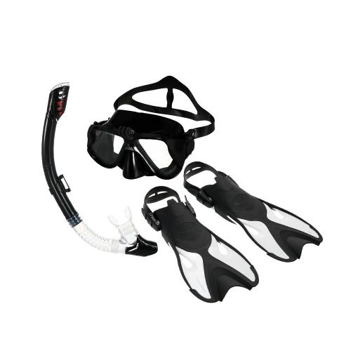Snorkeling Combo Set Occhiali antiappannamento Maschera Snorkel Tube Pinne con Gear Bag per Uomo Donna Nuoto Scuba Diving Travel