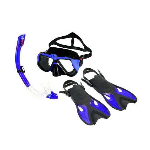Snorkeling Combo Set Anti-Fog Goggles Mask Snorkel Tube Fins with Gear Bag для мужчин Женщины Плавание Подводное плавание