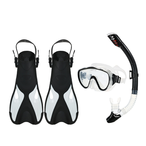 Snorkeling Combo Set Goggles Mask Snorkel Tube Pinne con Gear Bag per Uomo Donna Nuoto Scuba Diving Travel