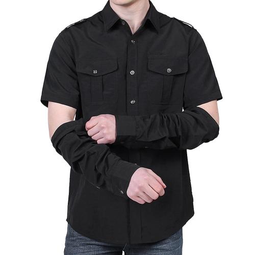 Camicia da pesca per asciugatura rapida da uomo outdoor con camicia da lavoro estiva da trekking a maniche lunghe rimovibile