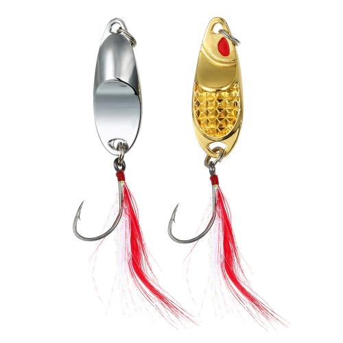 2 STÜCKE Angeln Metall Lockt Kunstköder Aluminiumlegierung Fisch Pailletten Köder mit Feder Einzelhaken