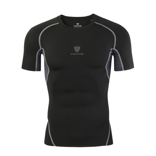 Мужская фитнес-футболка с высокой эластичной дышащей спортивной рубашкой Быстрая сушка Абсорбирующая плотная компрессия Спортивная одежда