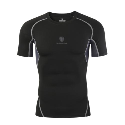 T-Shirt Fitness da uomo Elastico sportivo traspirante Camicia sportiva ad asciugatura rapida ad assorbimento rapido
