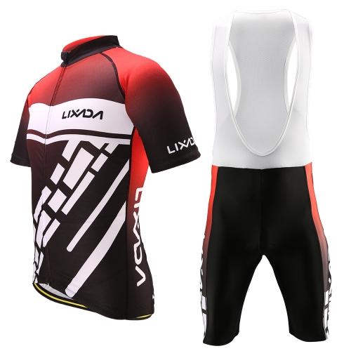 Lixada Abbigliamento da ciclismo da uomo Set Quick Dry Maglia manica corta da ciclista Camicie Top 3D Cuscino imbottito da equitazione Pantaloncini Pantalone Pantalone