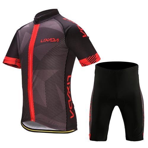Lixada Abbigliamento da ciclismo da uomo Set Quick Dry Jersey a manica corta da bicicletta Camicie Tops 3D Imbottito Pantaloncini da equitazione imbottiti Pantaloni