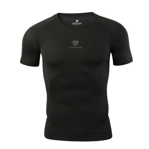 Maglietta assorbente da uomo traspirante in tessuto sportivo da allenamento da running