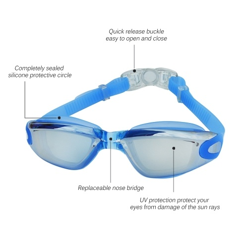 Adjustable Water Resistant Anti-fog UV Shield Protection Swimming Goggles Adult Glasses with Nose Clip Storage Box