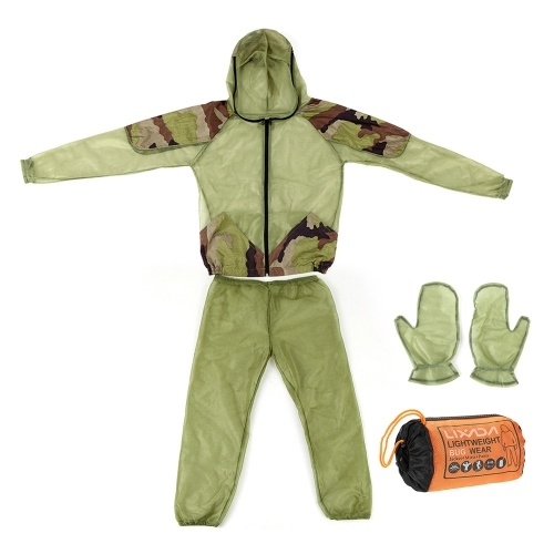 Lixada Outdorr Mosquito Repellent Suit Bug Jacket Mesh Hooded Suits Fishing Hunting Camping Jacket Insect Protective Mesh Shirt Gloves Pants