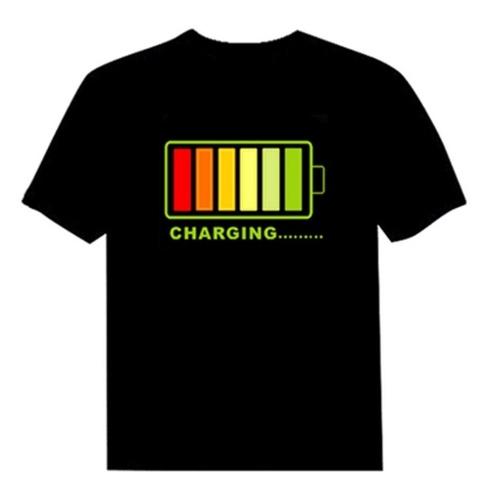 T-shirt luminescente de música controlado por áudio unissex