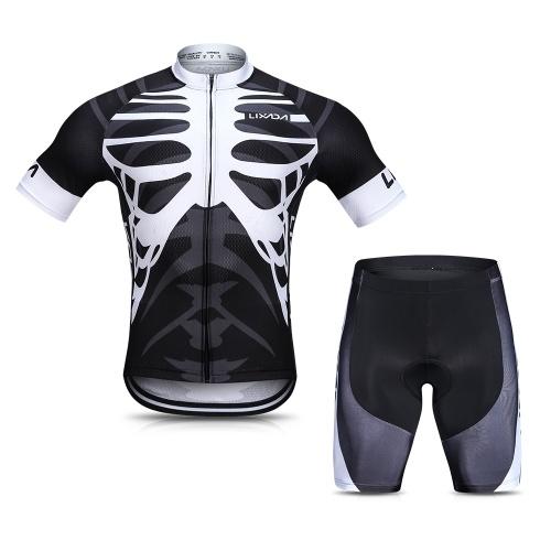 Lixada Camisa de Ciclismo dos homens Conjunto Respirável de Secagem Rápida de Manga Curta de Ciclismo Camisa com Gel Acolchoado Shorts MTB Bicicleta Ciclismo Roupas conjunto