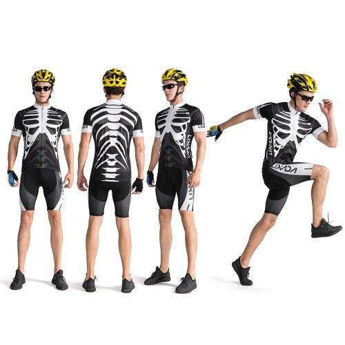 Lixada Men's Cycling Jersey Set Breathable Quick-Dry Short Sleeve Biking Shirt with Gel Padded Shorts MTB Bike Cycling Clothing Set Image