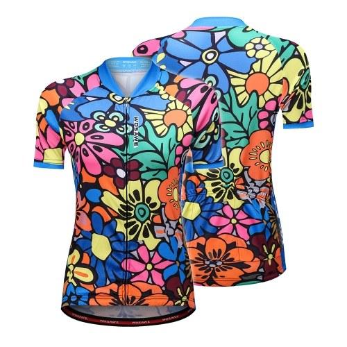 女性のための半袖サイクリングジャージーフラワープリントクイックドライ夏MTBバイクシャツ乗馬服