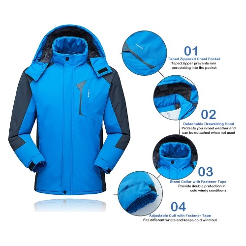 e038b994f8b Lixada Men s Jacket Winter Waterproof Coat Outdoor Windproof Fleece Ski  Jacket for Hiking Running Skiing Sport