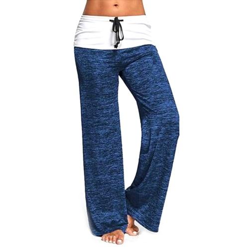 Pantalones largos cómodos suaves de la pierna ancha de la manera de las mujeres