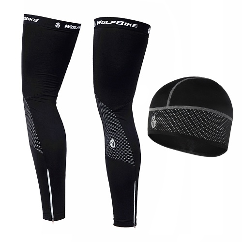 Windproof Warm Cycling Cap and Leg Warmers Set