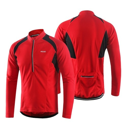 Arsuxeo Men's Long Sleeve Cycling Jersey Lightweight Breathable Quick Dry Image