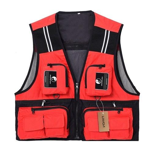 Lixada ao ar livre pesca colete sem mangas de malha de pesca jaqueta