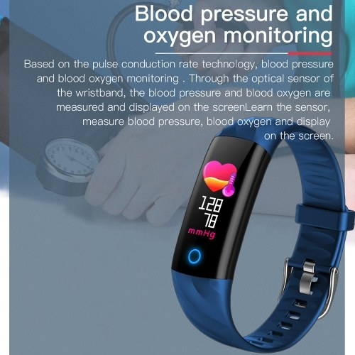 Smart Bracelet IP67 Waterproof Swim Fitness Tracker Health Monitor Heart Rate Blood Pressure Blood Oxygen Step Calorie Counter Wristband, TOMTOP  - buy with discount