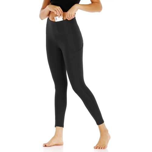Frauen Yoga Leggings mit Taschen Hohe Taille Enge Sporthose Fitness Gym Workout Laufhose