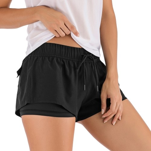 Women 2-in-1 Sport Shorts Elastic Waist Drawstring Pocket Solid Color Workout Running Gym Yoga Shorts