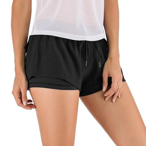 Женские спортивные шорты 2-в-1 с эластичной талией и карманом на шнурке, однотонные тренировочные шорты для бега в тренажерном зале и йоги
