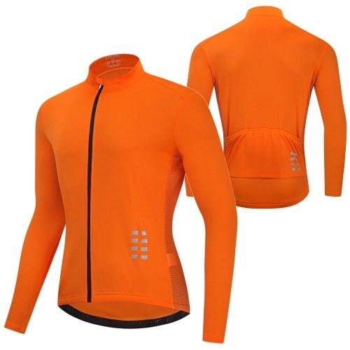 Men Long Sleeve Cycling Jersey Breathable MTB Bicycle Shirt Bike Riding Running Sports Jacket Clothing Image