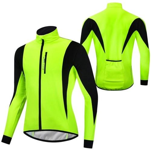 Men Cycling Winter Thermal Jacket Windproof Long Sleeve Bike Jersey Bicycle Wind Coat Outdoor Sportswear Image