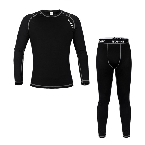 Men Long Sleeve Thermal Fleece Lined Compression Underwear Set Bicycle Jersey Base Layer Shirt and Pants Leggings for Cycling Running Jogging Image