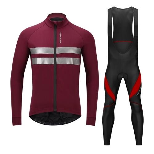 Herren Radtrikot Set Fahrradbekleidung Langarm Thermo Fleece Winter Fahrradjacke und 3D gepolsterte Trägerhose