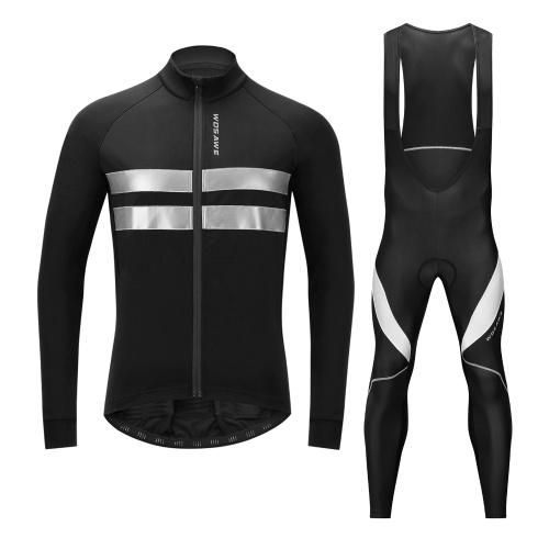 Men Cycling Jersey Set Bike Clothing Long Sleeve Thermal Fleece Winter Bike Jacket and 3D Padded Bib Pants Tights Image