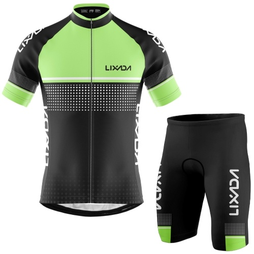 Lixada Men Cycling Jersey Set Breathable Quick-Dry Short Sleeve Biking Shirt and Foam Padded Shorts MTB Cycling Outfit Set Image