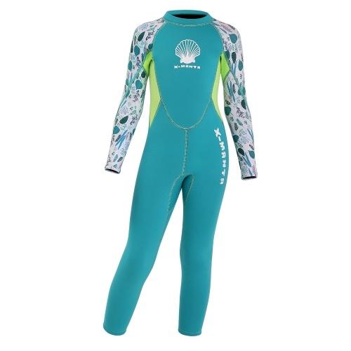 Fato de mergulho para meninas Fato de banho de mergulho de manga comprida com zíper nas costas Fato de surf de uma peça para esportes aquáticos